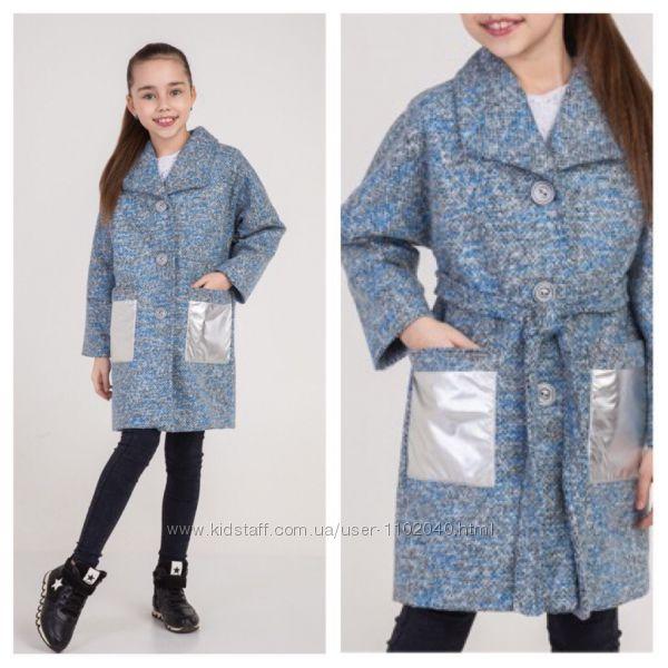 Детское демисезонное шерстяное пальто на девочку размеры 140-164 Три модели