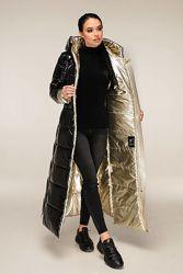 Зимняя двухцветная удлиненная куртка пуховик лаке р. 44-58 много цветов