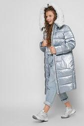 Модная зимняя удлиненная куртка для стильной девочки р. 110 по 158см