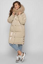 Зимняя теплющая куртка с натуральным мехом  бежевая лаке
