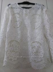 Стильная секси кружевная белая блузка Zara