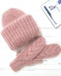 хит трендовый теплый мягкий Комплект шапка ТакОри варежки мохер цвета