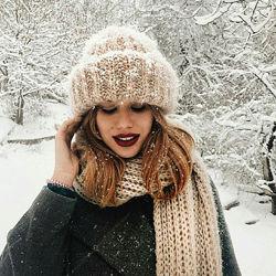 теплый комплект набор шапка Такори Шарф мохер пудровый Беж
