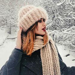 в наличии теплый комплект набор шапка Такори Шарф мохер пудровый Беж