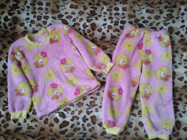 Теплая зимняя махровая пижама девочке 4-6лет