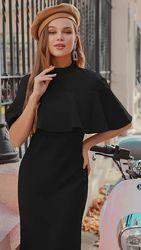 Черное изысканное платье-миди с невесомым воланом на плечах л