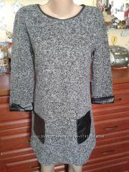 Серое-меланжевое платье-туника с кожанной отделкой М-Л-ХЛ