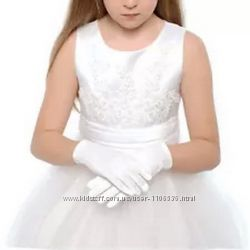 Перчатки детские атласные нарядные белые 6-9 лет бальные