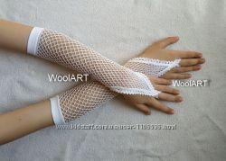 Перчатки детские нарядные белые для танцев новые
