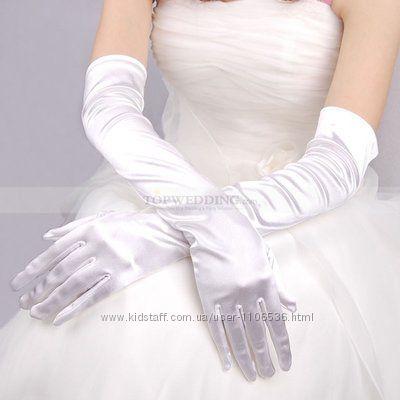 Атласные длинные белые перчатки свадебные 56см