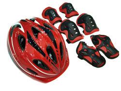 Комплект шлем и защита Sports Helmet размер Красный 2-14 лет с регулировкой