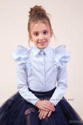 Классическая голубая блузка с длинным рукавом 26-9050