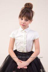 Недорогая школьная блузка с коротким рукавом ТМ Зиронька 26-9053