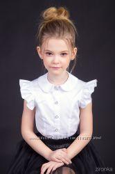 Классическая блузочка с коротким рукавом-воланом ТМ Зиронька 26-9010
