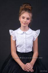 Красивая блузка с гипюром, короткий рукав-крылышко ТМ Зиронька 26-9088