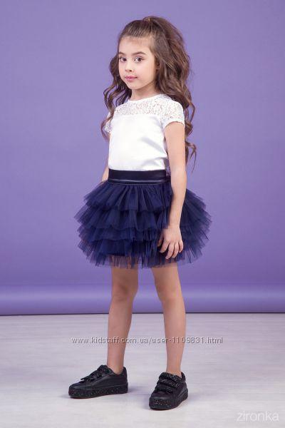 Нарядная пышная юбка ТМ Зиронька 30-9024 цв. синий, черный
