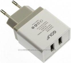 Сетевое зарядное устройство Golf GF-U2 2. 1A, адаптер USB 220В для телефона