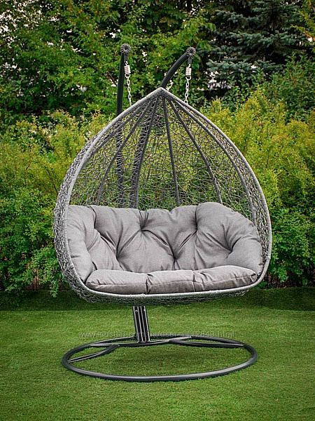 Подвесное кресло качеля кокон из ротанга Дабл для двоих и одного