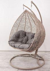 Подвесное кресло качеля кокониз ротанга Дабл для двоих