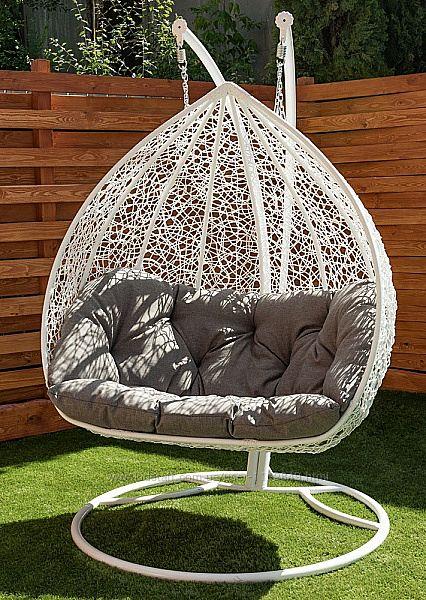 Подвесное кресло качель кокон из ротанга Дабл для двоих