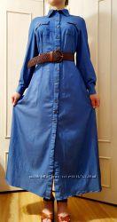 Платье- рубашка  макси с рукавами
