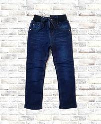 Теплые джинсы на флис подкладке, на еврорезинке 110 - 140