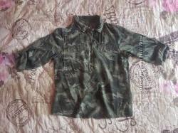 Бомбезная камуфляжная блузка, вискоза, Италия