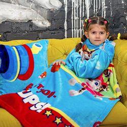 Детский плед с рукавами из микрофибры - разные рисунки - смотрите фото