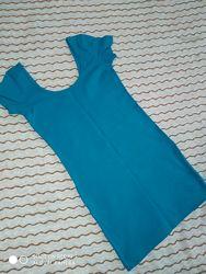 Платье футболка по фигуре насыщенная морская бирюза