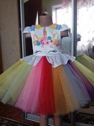 Единорог, платье, новое для девочек , нарядное