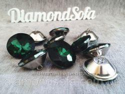 Мебельные пуговицы стразы , Алмаз огранка , 30 мм зеленого цвета