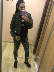 Укорочённый джинсовый пиджак хаки s m l