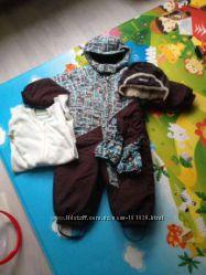 Полный комплект на зиму lenne-reima комбез , поддева, шапка, краги