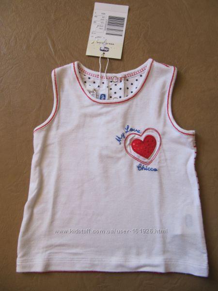 CHICCO маечка футболочка и джинсовые шорты на девочку 68см9мес-12-18мес