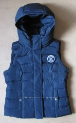 ABERСROMBIE&FITСH жилетка-худи пуховая темно-синя р. S привезена из США