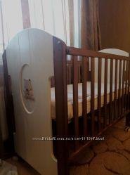 Детcкая кроватка Micuna GUGU c матрасиком, бампером. Пеленальный комод