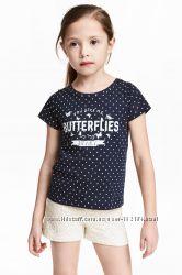Новые футболки  девочке 4-6, 6-8, 8-10 лет от H&M