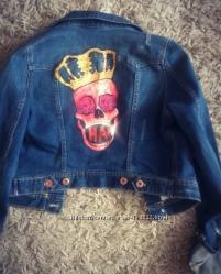 Джинсовая куртка H&M с рисунком