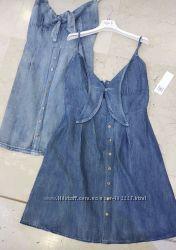 Сарафан платье Италия джинс прошва трикотаж