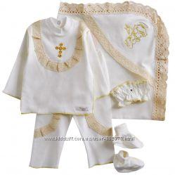 Крестильный набор Ангелочек  4 в 1 Крыжма, кофточка, штанишки, пинетки.
