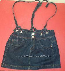 Zara Джинсовая юбка со шлейками р. 164