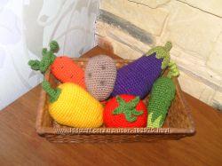 Вязаные овощи, фрукты, еда под заказ для ваших деток