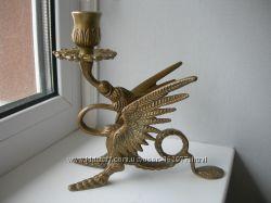 Подсвечник, Дракон, бронза, Франция, оригинал Антикварный массивный подсвеч