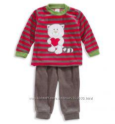 Пижамка с котенком из велюра для малышей из Германии с C&A, р-ры 74, 80
