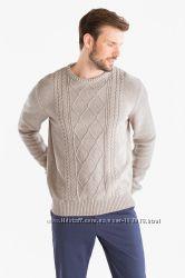 Бежевый классный теплый свитер, хлопок с шерстью с C&A, р-ры XL 2XL