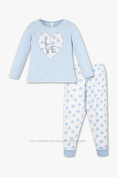 Голубая флисовая пижама с немецкого сайта C&A, р-ры от 104 до 128