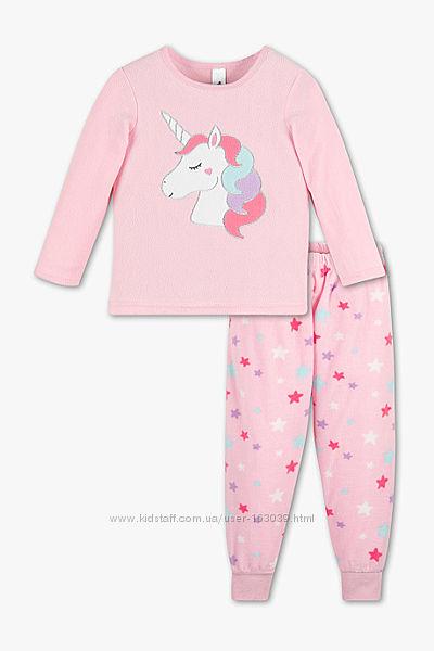 Флисовая пижамка с единорогом для девчушек с сайта C&A, р-р 104