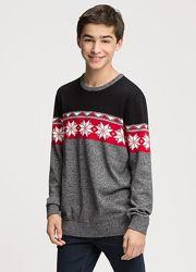 Хлопковый свитерок с новогодней тематикой, р-ры 122-128, 134-140, 170-176