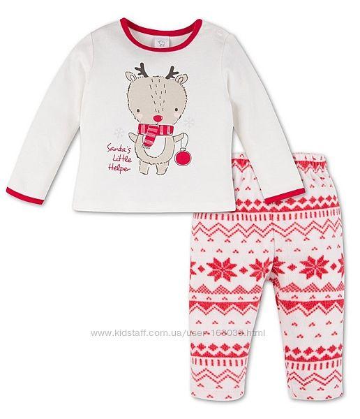 Тепленькая рождественская пижамка для малышей хлопок и флис, р-р 80, 86, 92