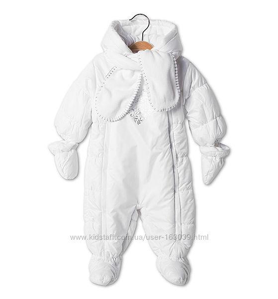 Белоснежный тепленький комбинезон для малышей с немецкого сайта C&A, р-р 74